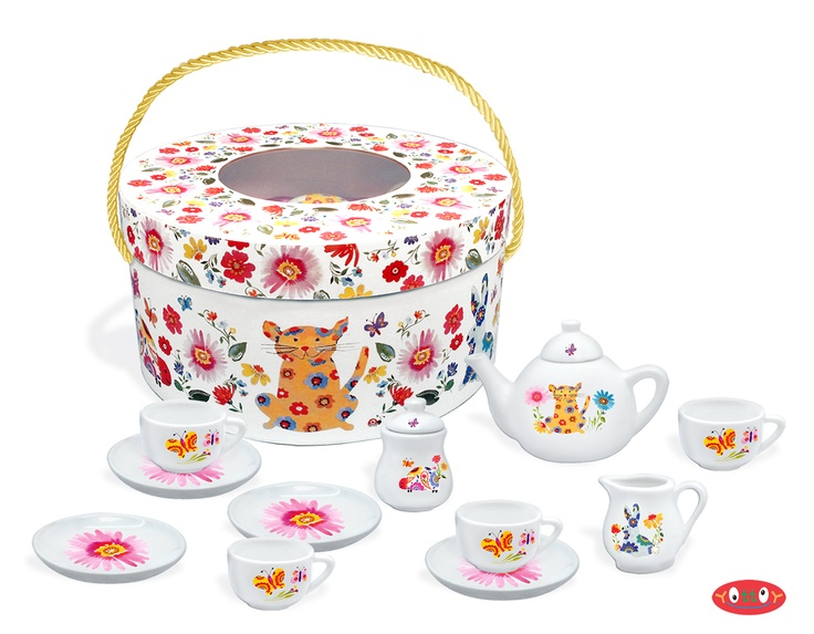 "Counting in the Garden Deluxe  Tea Set    Our Kim Parker Kids Counting in the Garden Tea Set is decorated with beautiful florals on real porcelain. This charming set includes a teapot, sugar bowl, creamer, four teacups and four plates, perfectly sized for small hands. All are nestled securely in a brightly printed hat box with a luxurious pink satin lining and a twisted satin cord handle. Perfect for a tea party for four!    Teapot 5.75"" L  Box 5.25"" x 11""  Item #541  $58.00"