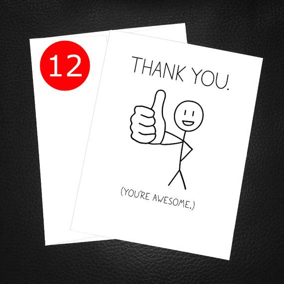 Funny Thank You Card Pack Youu0027re Awesome Thumbs By PithyDiction