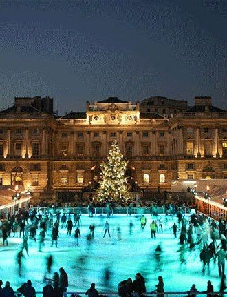 There's a reason that Somerset House is #London's favourite ice rink year after year. Situated on the Thames, this Neoclassical building offers a truly magical skating experience - especially at night.