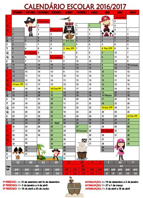 Cantinho do Primeiro Ciclo: Calendário Escolar 2016/2017
