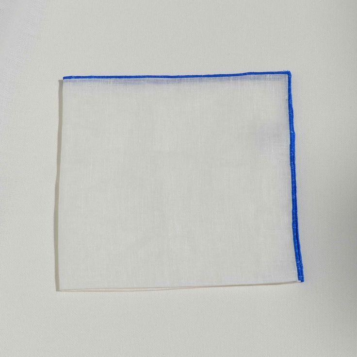 Pañuelo Lino Contraste Azul - Pañuelos