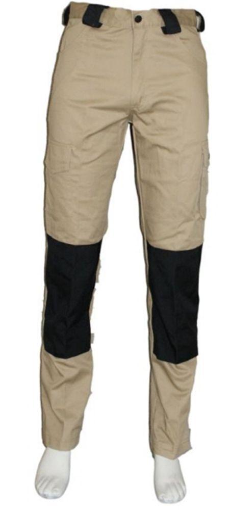 Werkbroek Kaki/Zwart - 60% katoen / 40% polyester - 2 zijzakken 2 achterzakken - beenzak en Cordura kniezakken - duimstokzak en rolmaatzak - € 36,13 excl BTW