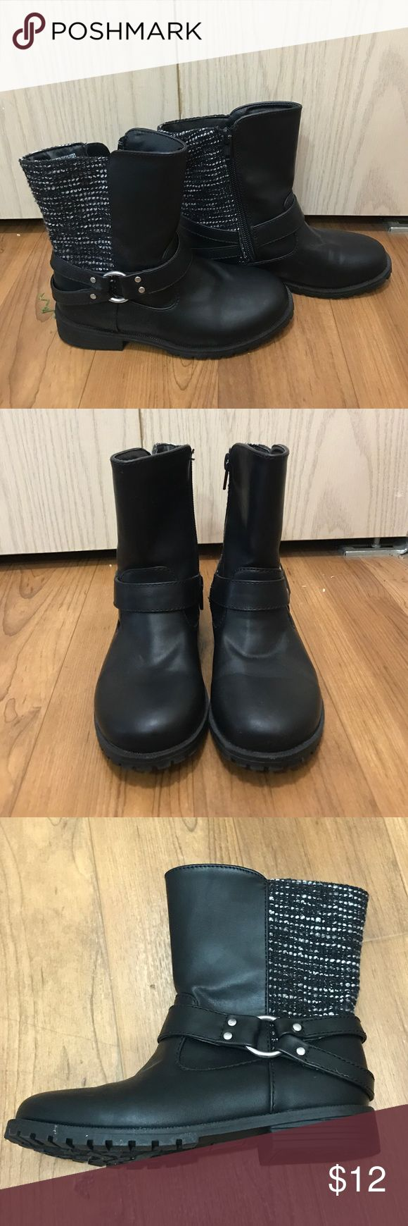 Girl's faux leather zip up boots Super cute toddler girl's zip up faux leather boots. Boots have zippers on the inside and a buckle decision on the outside of the shoe. Faux leather & fabric. Only worn once, in like new condition! Cat & Jack  Shoes Boots