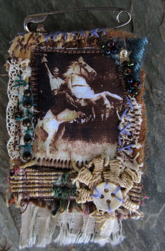 Vintage Cowgirl and Horse Photo Textile Brooch by wildhorsemoon