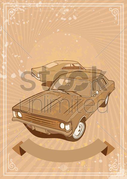 vintage car banner Stock Vector