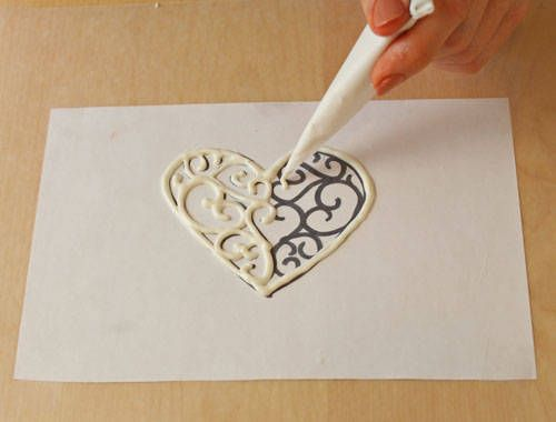 print your design and place underneath waxed paper. Then carefully pipe chocolate onto the wax paper and let dry.