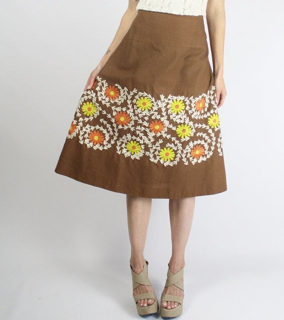 70s Vintage Embroidered Skirt Brown cotton skirt от renewvintage
