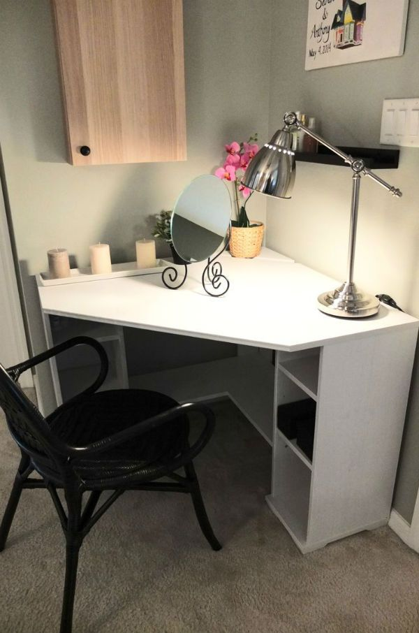 IKEA Fan Favorite: BORGSJO corner desk. This fan favorite tucks neatly in a corner, with enough top space and storage to make morning prep easy!