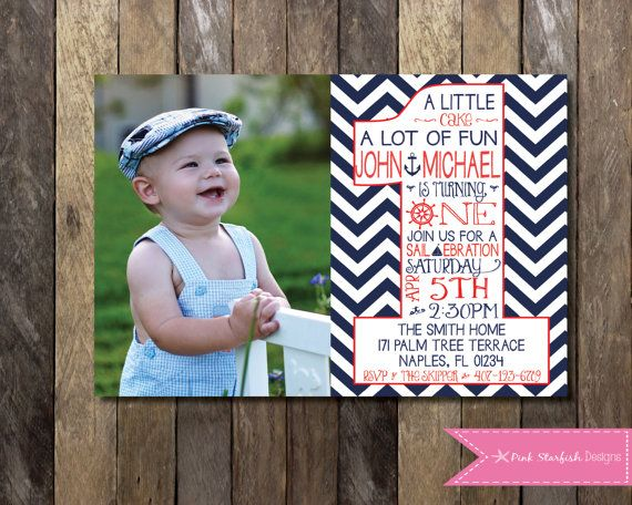 PRINTABLE Nautical First Birthday Invitation with Picture - 1st Birthday Invitation -  Girls Boys Birthday Party 4x6 or 5x7 on Etsy, $13.00