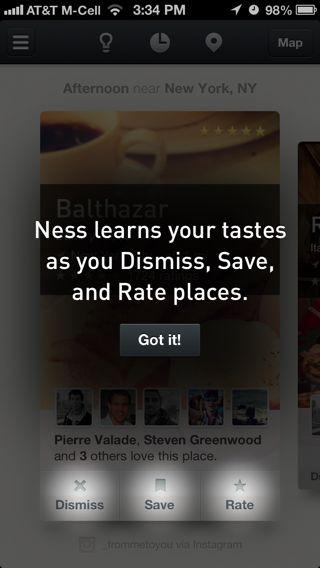 Ness iPhone coach marks screenshot