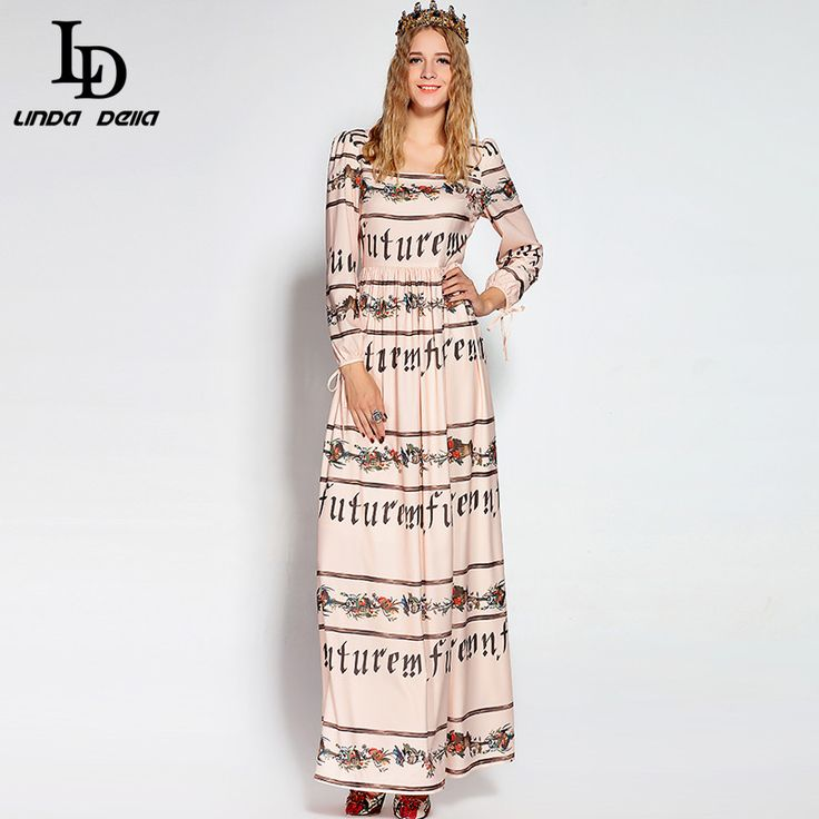 Women Maxi Dress Vintage Letter Floral Printed Long Dress Elegant Party Dresses Autumn  $82.16   => Save up to 60% and Free Shipping => Order Now! #fashion #woman #shop #diy  http://www.clothesdeals.net/product/ld-linda-della-2016-designer-women-maxi-dress-vintage-letter-floral-printed-long-dress-elegant-party-dresses-autumn-new