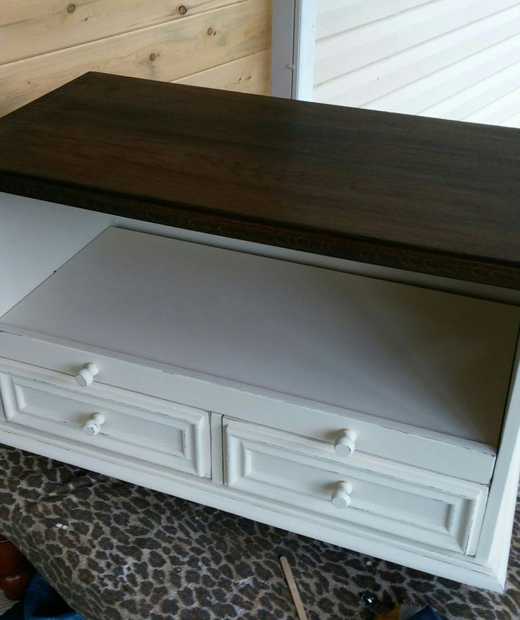 Tv stand. Cottage paint antique white. Stained top in ebony.