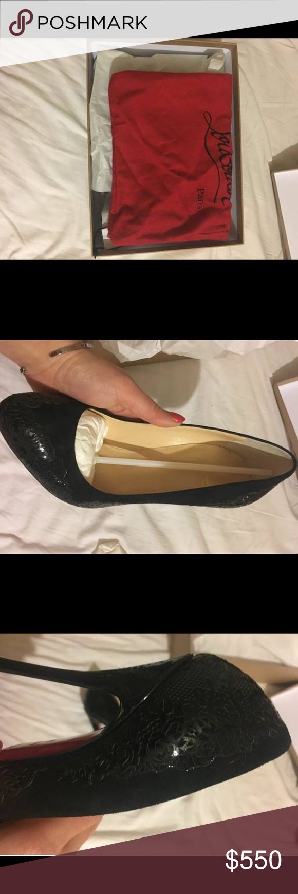 Christian Louboutins Size 7.5 Stunning black Louboutins that are too small for me :/ never worn, brand new in box, paid over $750 for them. Beautiful rose flowers etched in sides! Rare and SOLD OUT EVERYWHERE. Stickers still attached to soles. Comes with duster bag to keep heels looking amazing :) might be willing to trade for 7.5 yeezys or similar sneakers Christian Louboutin Shoes Heels