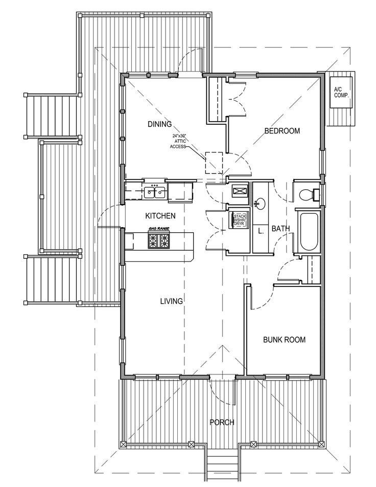 Beach Style House Plan   2 Beds 1 Baths 869 Sq/Ft Plan #536