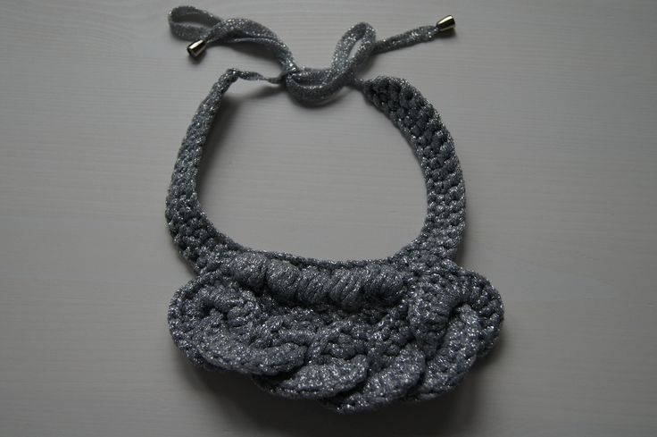 Hand knitted necklace / silver color necklace / crocheted necklace