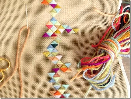 Long-strand variegated thread / yarn on burlap