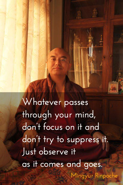 """Just observe it ~ Mingyur Rinpoche http://justdharma.com/s/65ju8  Whatever passes through your mind, don't focus on it and don't try to suppress it. Just observe it as it comes and goes.  – Mingyur Rinpoche  from the book """"The Joy of Living: Unlocking the Secret and Science of Happiness"""" ISBN: 978-0307347312…"""