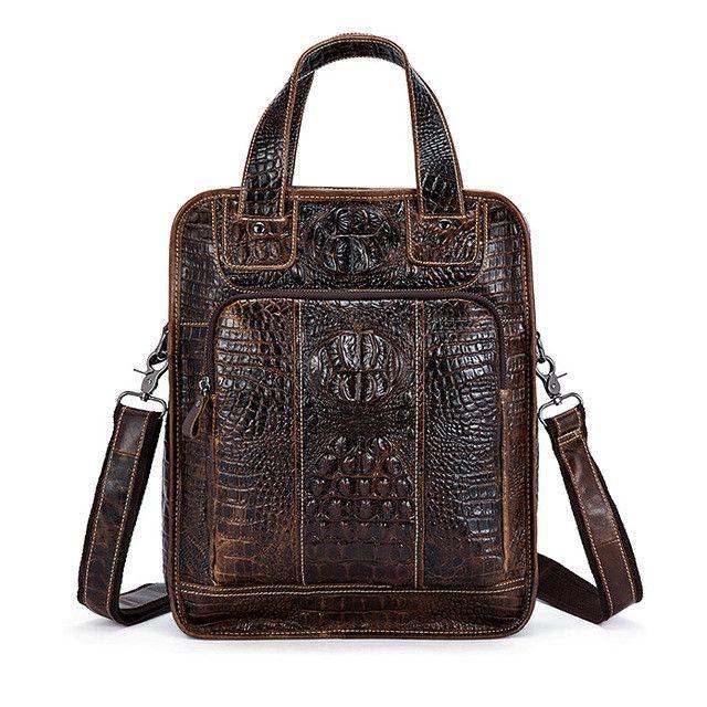 WESTAL Men Bag Genuine Leather New Designer Man Shoulder Crossbody Handbag Crocodile Pattern Leather Male Messenger Bag 9909