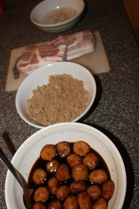 I love these- Bacon Wrapped Water Chestnuts.  Perfect SuperBowl apps! :)