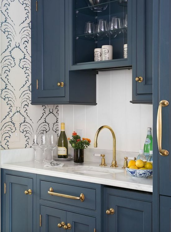 Between The Kitchen And Dining Room Butlers Pantrys Custom Cabinetry Makes A Dreamy Statement In Farrow Balls Hague Blue