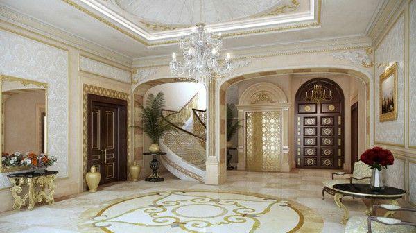 Uxuriöse Villa Qatar gorgeous marble columns, gold chandelier white staircase