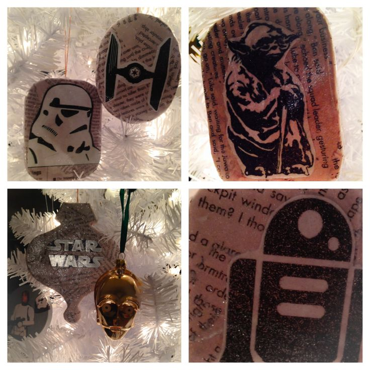 My boys huge love for Star Wars has turned me into a Star Wars junkie. They asked for a Star Wars tree and well it's hard to find Star Wars ornaments. So I decided to mod podge my own. You can get paper mâché ornaments at the craft store cheap. Then find an old Star Wars book or just news paper. Look up Star Wars silhouettes online and print. Finishing touch is star sparkling pretty glitter. Then there you have it a JEDI Christmas!!