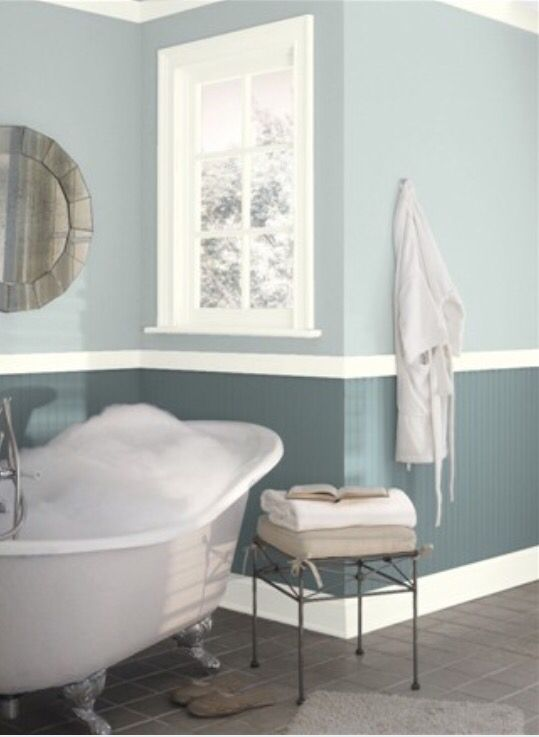 Benjamin Moore Pale Smoke And Templeton Gray Bathroom