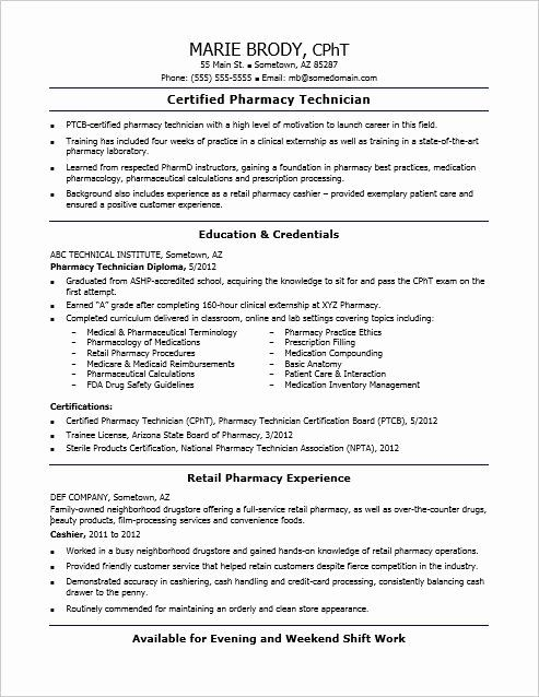 entry level pharmacy technician resume fresh check out