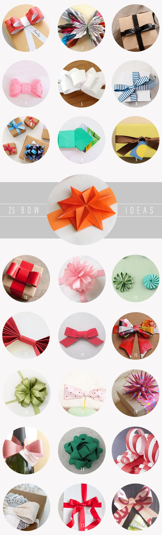 Awesome... 25 Easy Handmade Bows ~ Here is a roundup of bow tutorials for topping every present you give this year with simple, beautiful style.