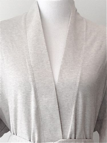 Lightweight Organic Cotton Kimono Bathrobe - Heather Grey.