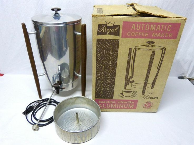 Vintage Aluminum Regal Automatic Coffee Maker 12-40 Cups w/Box - Art Deco Tested Vintage ...