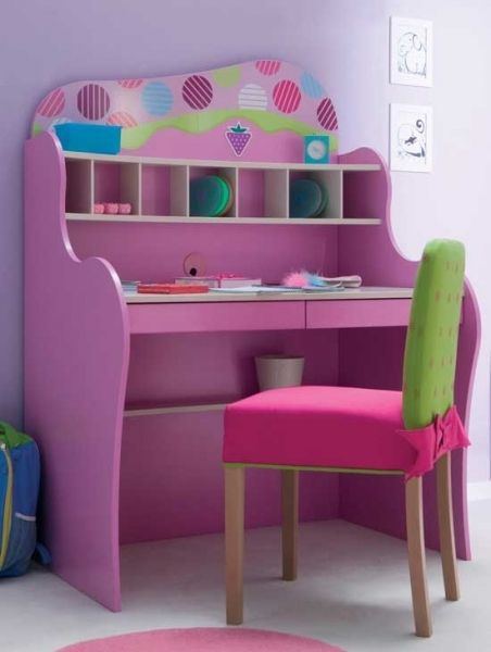 Study Desk Ideas for Kids Kids' Desk Design Ideas For A Colorful Study Space Purple Green And Pink Color