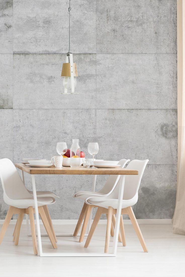 Industrial-Style vom Feinsten: unsere #Fototapete in #Betonoptik mit großen Betonplatten macht dein Zuhause zum Industrie-Loft. Die moderne Steintapete lässt sich perfekt mit Möbeln im Mid Century Look kombinieren und ist eine schöne Idee für die Wandgestaltung. #tapete #steinoptik #shabby #betonwand