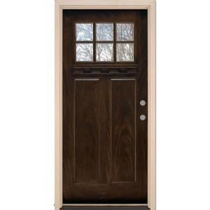 Feather River Doors 37.5 in. x 81.625 in. 6 Lite Craftsman Stained Chestnut Mahogany Fiberglass Prehung Front Door FF3790 at The Home Depot - Mobile