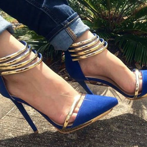 Gold Accent Pointed Toe Heels