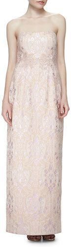 KAY UNGER NEW YORK STRAPLESS SEQUINED JACQUARD COLUMN GOWN. WAS $760 NOW $228 by Kay Unger New York at Neiman Marcus. CLICK IMAGE TO VIEW OR SHOP.