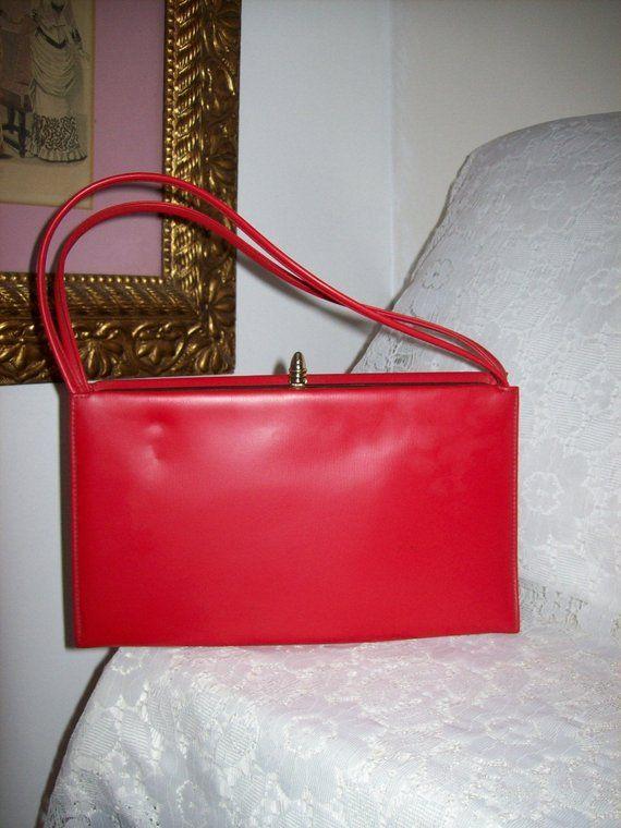 9dc664932042 Vintage 1950s Ladies Red Vinyl THEODOR of California Handbag Purse w  Brass  Flip Top Only 15 USD  purses  handbags  vintage  red  1950s