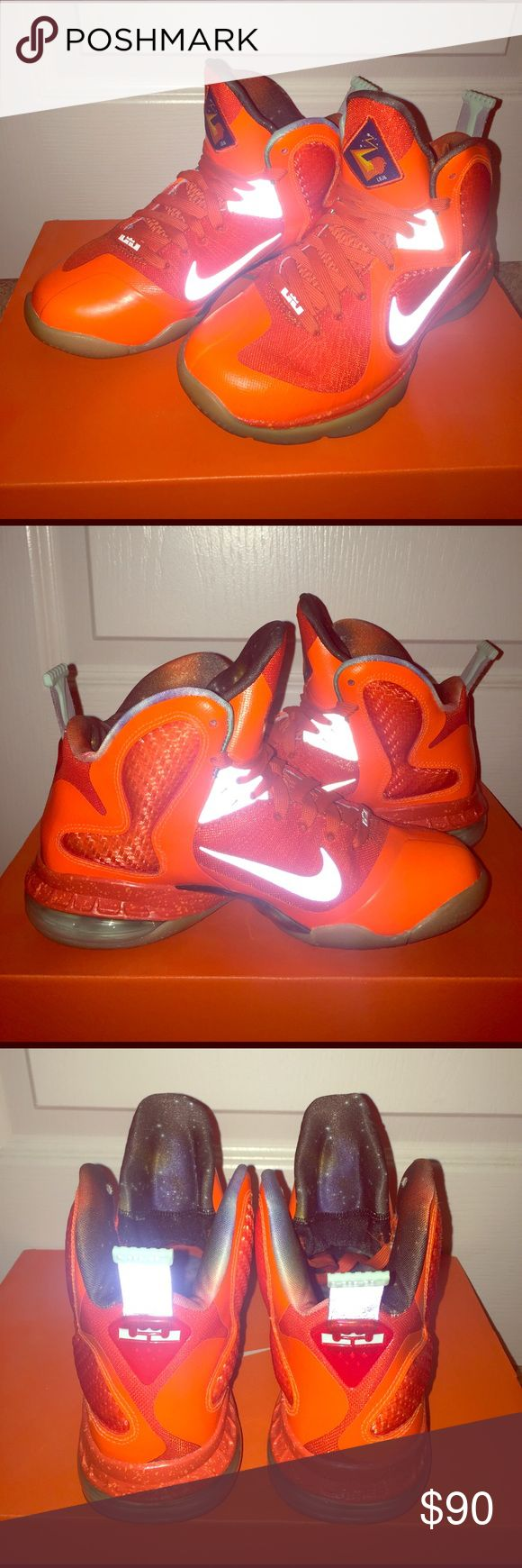 Lebron 9, Galaxy's Slightly used Galaxy Lebrons, 7.5/10 aesthetic appeal with minor creases, kid size 3.5Y Nike Shoes Sneakers