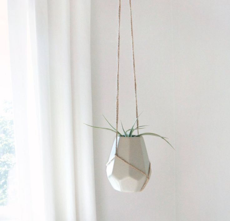 Jute & Ceramic Geometric Hanging Planter for Air Plant, Tiny Succulent and Flowers by ClassicByNature on Etsy
