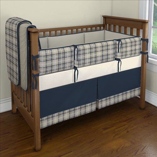 Navy and Taupe Plaid Nursery Idea | Customizable Crib Bedding Set | Carousel Designs 500x500 image