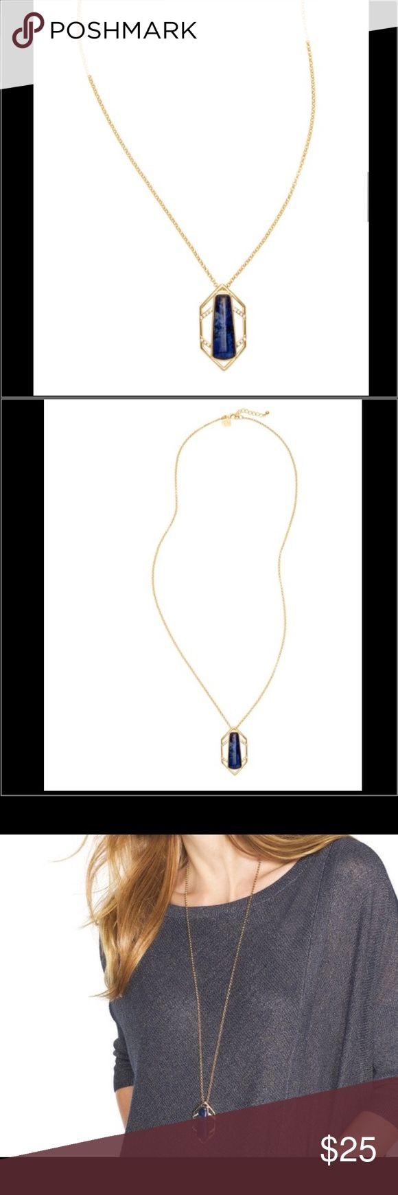 """BRAND NEW WHBM SODALITE CHEVRON PENDANT NECKLACE BRAND NEW NEVER WORN A sculptural design surrounds the angular blue sodalite suspended by a long, gilded chain. Breathtaking pavé accents it for a glamorous caged effect. Sodalite chevron long pendant necklace Approx. 36"""" overall length with 2"""" extender; signature WHBM charm Lobster close; goldtone; semi-precious sodalite; glass stones Handcrafted with nickel-free and lead-free metal. White House Black Market Accessories"""