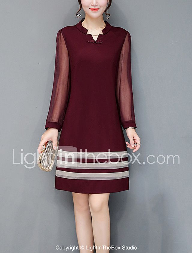 Women's Plus Size Going out Street chic Sheath Dress,Solid V Neck Knee-length Long Sleeves Polyester Fall Mid Rise Inelastic Medium 2017 - $21.99
