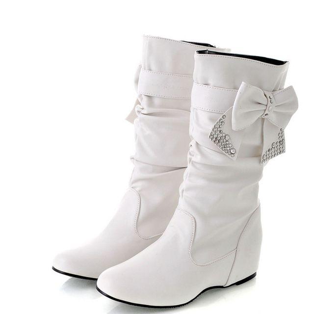 ENMAYER Nuevas Mujeres de Primavera y Otoño Botas Pisos Bowtie Encantos zapatos de Mujer Zapatos Botas A Media pierna 4 Colores Blanco de Gran Tamaño 34 47 en Botas media caña de Zapatos en AliExpress.com | Alibaba Group