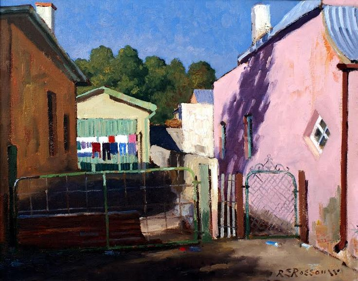 The Washing Line, Carnarvon. Artist: Roelof Rossouw. Oil on canvas – unframed, Size: 48x61cm. Price Unframed: ZAR16,500  Framed. Size: 69×81. Price Framed: ZAR18,500  Framed. Painting can be purchased on our shopping cart at www.africaskygallery.com Contact Email: info@africaskygallery.com