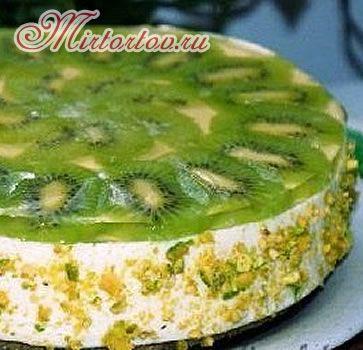 Творожный торт с киви без выпечки