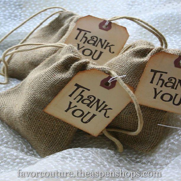 """Burlap favor bags (personalized)  #weddingfavors """"Rustic Renaissance"""" Burlap Favor Bag with Drawstring Tie - Available Personalized Sale Price: $1.24 (15% off) http://favorcouture.theaspenshops.com/Rustic-Renaissance-Burlap-Favor-Bag-with-Drawstring-Tie.html"""