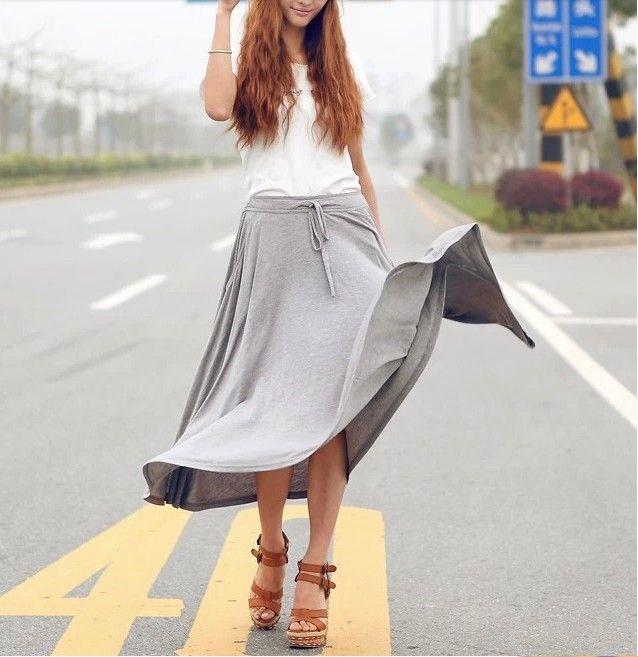 Юбки элегантный марка женщины лето 2014 сплошной цвет свободного покроя нерегулярные плиссированные юбки шнурок карман Desigual длиной макси юбка
