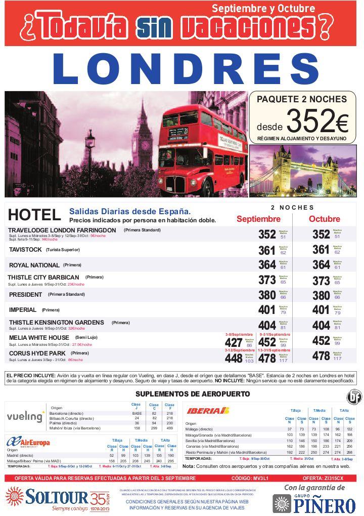 ¿Todavía sin vacaciones? LONDRES, Avión + Hotel, salidas desde España - Septiembre y Octubre - http://zocotours.com/todavia-sin-vacaciones-londres-avion-hotel-salidas-desde-espana-septiembre-y-octubre/