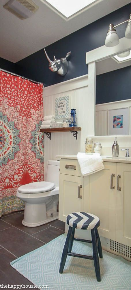 Boho Chic Bathroom Makeover With Hale Navy Coral And Turquoise At Thehappyhousie Com
