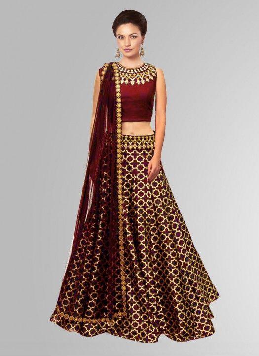 Khantil Maroon Jacquard Embroidered Navratri Special Designer Lehenga Choli…